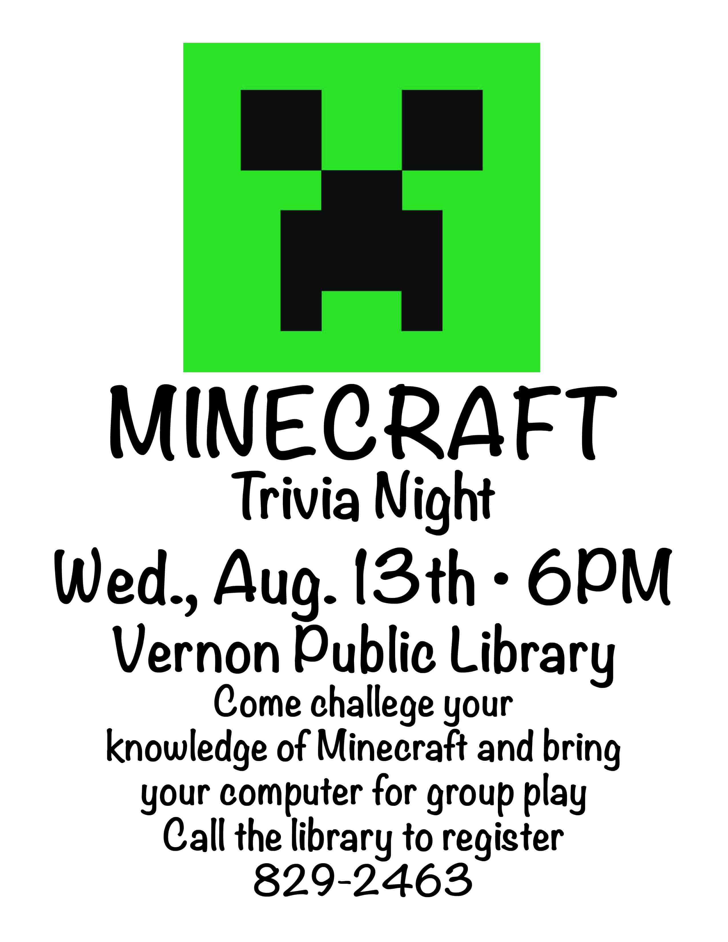 Minecraft Night Flyer | Vernon Public Library